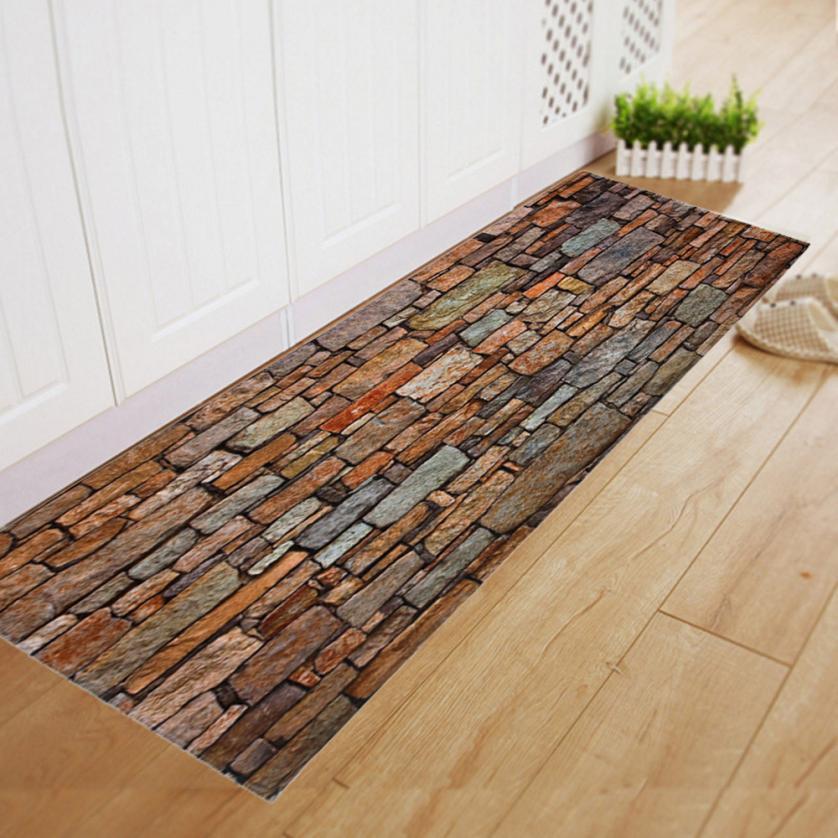 Ouneed Bathroom Carpet Floormat Wall Brick Pattern Bathmat