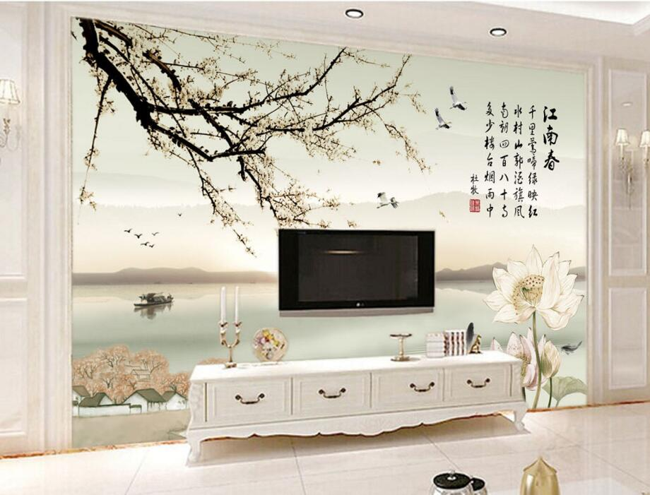 Large 3d wallpaper,Beautiful Chinese landscape painting murals,restaurant living room sofa tv wall bedroom mural papel de parede 3d mural papel de parede purple romantic flower mural restaurant living room study sofa tv wall bedroom 3d purple wallpaper