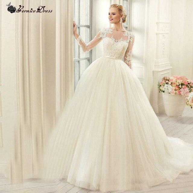 Elegant Sheer Button Back Long Sleeve Princess Wedding Dress ...