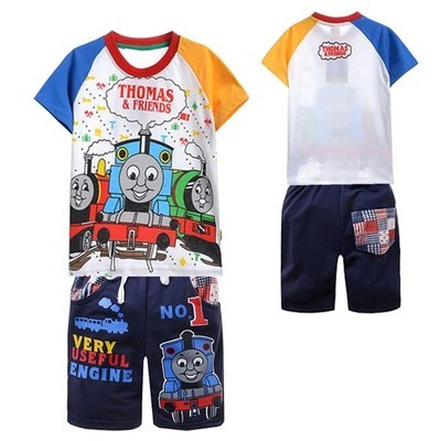 Boys T Shirt Thomas Train Railway Cartoon Short Sleeve T-Shirt +pants Tops Boys Kids Children Summer Clothing Boy Child Clothes