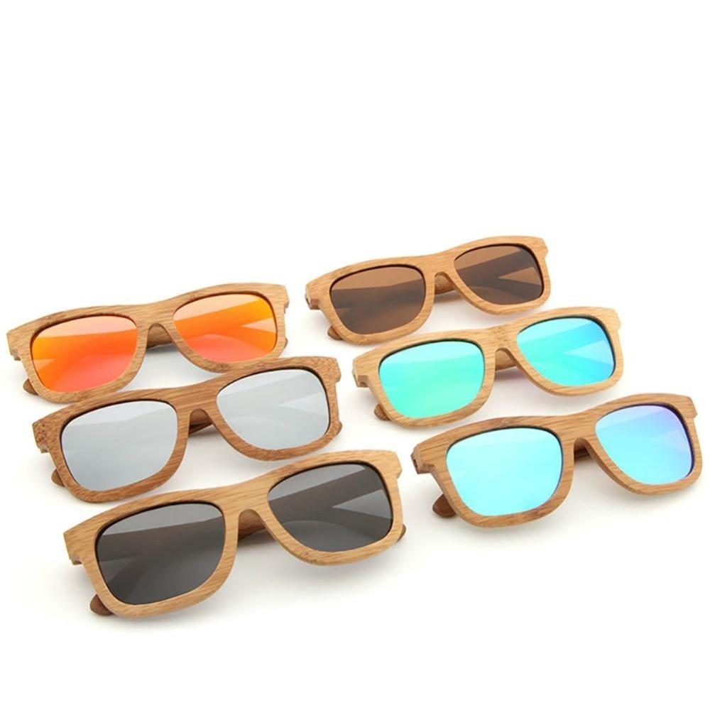 2018 nuevos productos de moda de las mujeres de los hombres de gafas de sol de bambú, gafas es Retro Vintage de madera de la lente de marco de madera hecho a mano