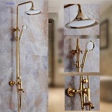 Dofaso Golden shower faucet luxury rose gold bathroom rain shower set fuacets bathtub column mixer tap