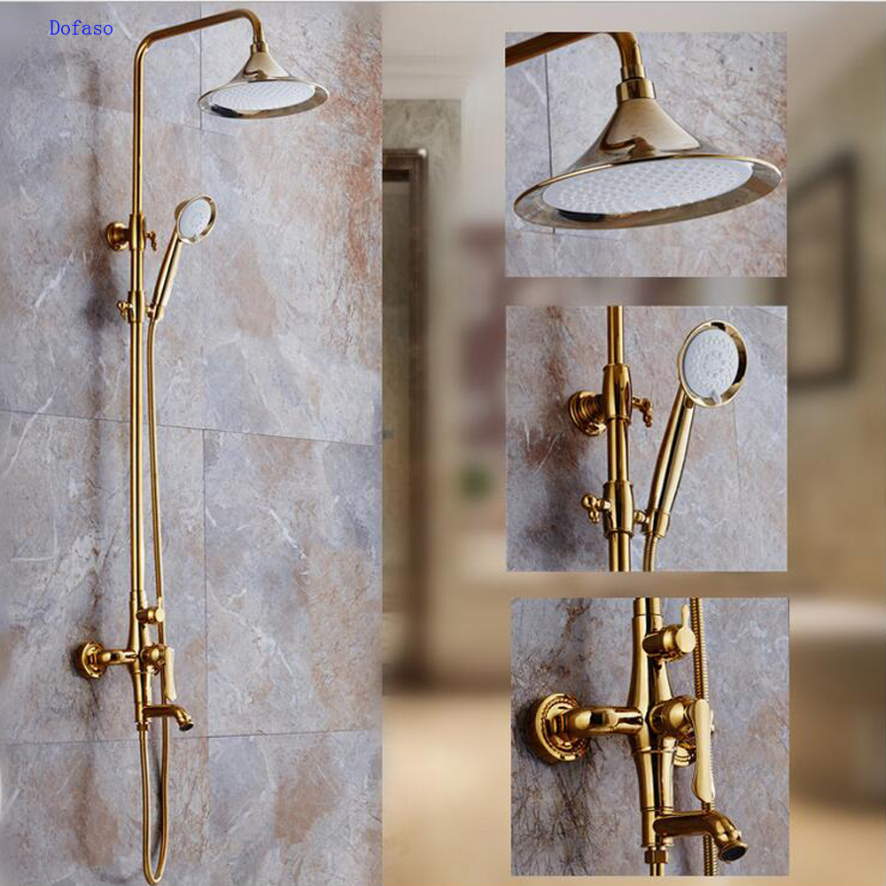 Dofaso torneira do chuveiro de luxo em ouro rosa de Ouro banheiro rain shower set fuacets coluna banheira toque mixer