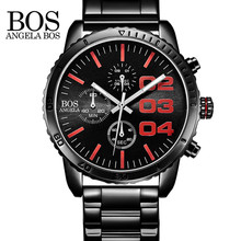 ANGELA BOS Luxury Fashion Multifunctional Sport Watches Mens Military Stainless Steel Quartz Wristwatch Waterproof Men Watch