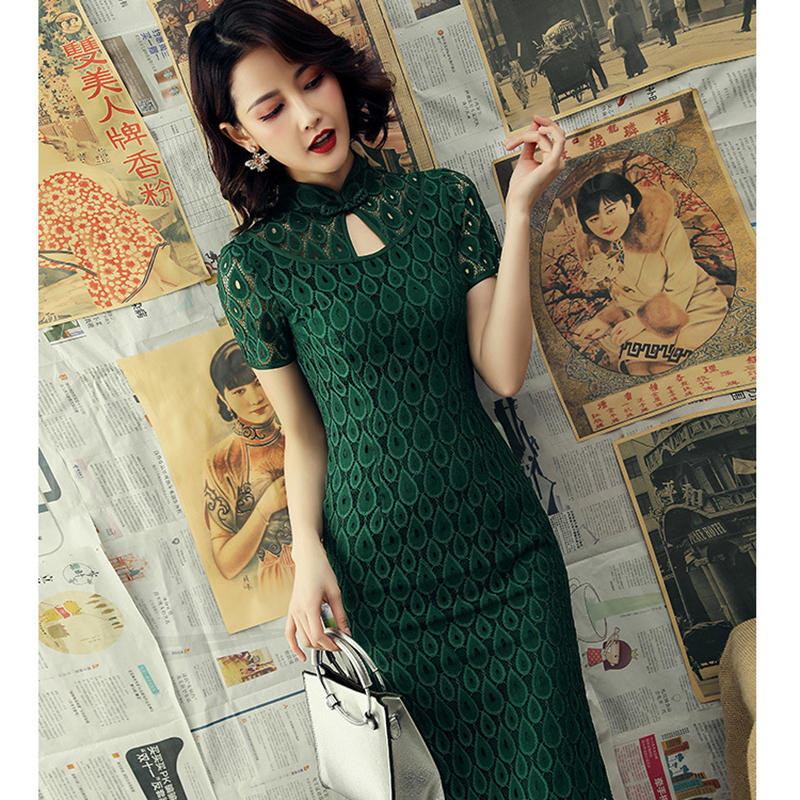 Plus Size 3XL 2020 Chinese Women Lace Qipao Sexy Spilt Cheongsam Mandarin Collar Novelty Chinese Dress Elegant Lady Party Dress