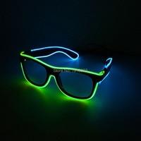 С устойчивым драйвером  двухцветные светящиеся солнечные очки EL Wire  яркие светящиеся очки  10 шт.  новинка  легкие очки