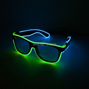 With Steady on Driver Double Colors EL Wire Glowing Sunglasses Colorful Flash Glasses 10pieces Novelty Light Glasses