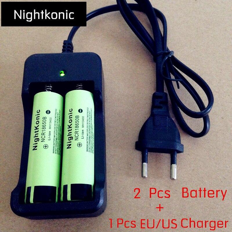 Original Nightkonic 2 18650B peças/lote 18650 bateria Li-ion 3.7V Bateria Recarregável + 1 PCS UE/EUA 2 slot carregador