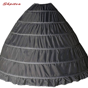 Image 5 - 6 الأطواق ثوب نسائي تحتية لفستان الزفاف الكرة ثوب قماش قطني امرأة هوب تنورة