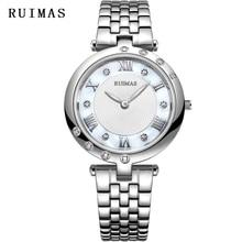 로즈 골드 시계 여성 RUIMAS 패션 쿼츠 시계 Luxury Relogio Feminino 50M 방수 선물 용품 큰 판매 APRR2103