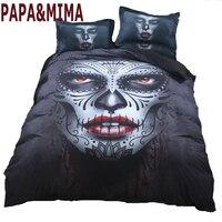 Papa&Mima 3D Quilt Cover Sets guitar Printed 3pc Bedding Set Polyester Bedlinen Black skull