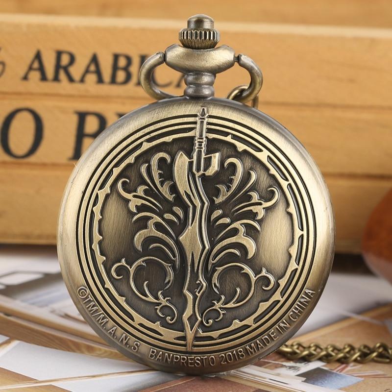 Retro Bronze Quartz Pocket Chain Watch Unique Antique Pendant Watch Exquisite Necklace Clock Top Gifts For Men Women