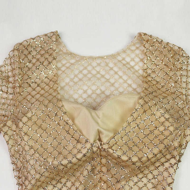 Серебряный  золотое плед закругленный воротник платье для вечеринки в макси тугой Glitter пустотелый с длинными рукавами длина пола элегантное вечернее платье