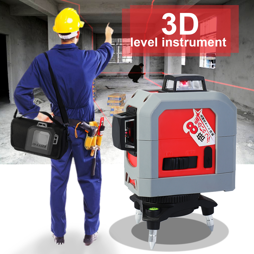 3D Red Line Laser level IR Leveler Self-leveling Super Powerful Laser 360 Degree Horizontal and Vertical Leveling Practical Tool high quality southern laser cast line instrument marking device 4lines ml313 the laser level