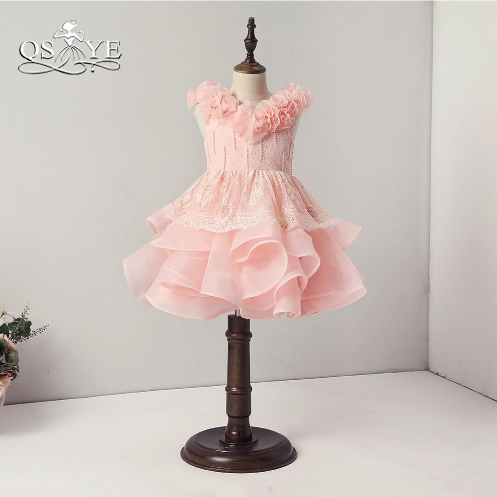 QSYYE 2018 Vintage Pink   Flower     Girl     Dresses   3D   Flower   Neck Ruffles Tulle Skirt   Girls   Pageant Prom Gown Custom Made