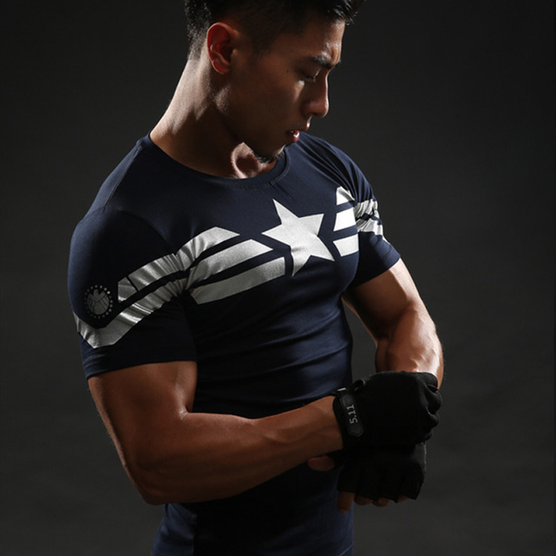Короткий рукав 3D футболка Для мужчин футболки мужской Кроссфит футболка Капитан Америка футболка Супермен Для мужчин Фитнес сжатия рубашка Каратель MMA