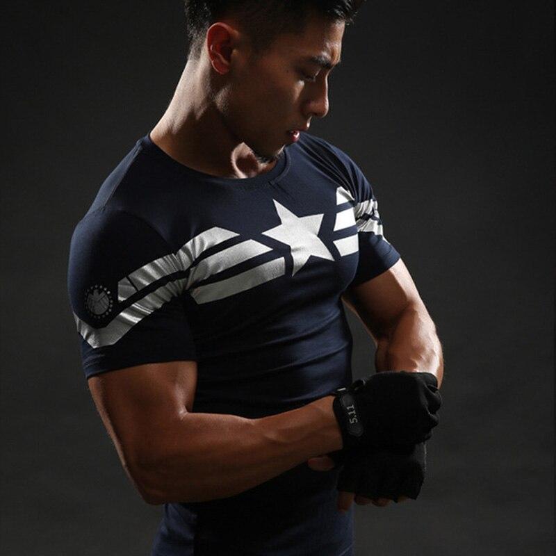 Manga corta 3D camiseta hombres Camiseta Hombre Crossfit camiseta Capitán América Superman camiseta hombres Fitness compresión camisa Punisher MMA
