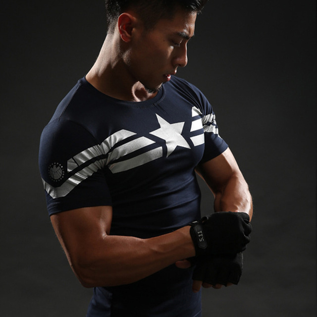 Z krótkim rękawem 3D T Shirt mężczyźni koszulka męska Crossfit Tee kapitan ameryka Superman tshirt mężczyźni Fitness kompresja koszulka Punisher MMA