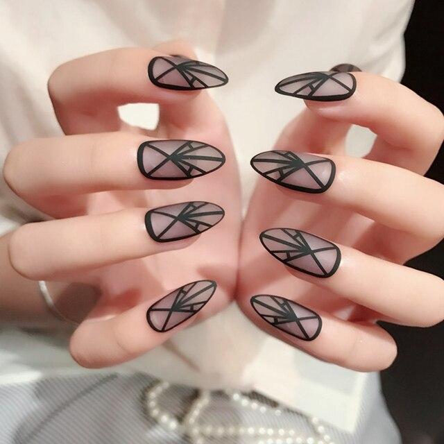 24 unids mate Uñas postizas claro negro triángulo línea aguja medio ...