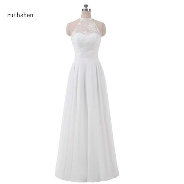 e01d0696e440 ruthshen 2018 Beach A Line Halter Wedding Dresses Cheap With Lace Vestidos  Baratos Robe Mariage