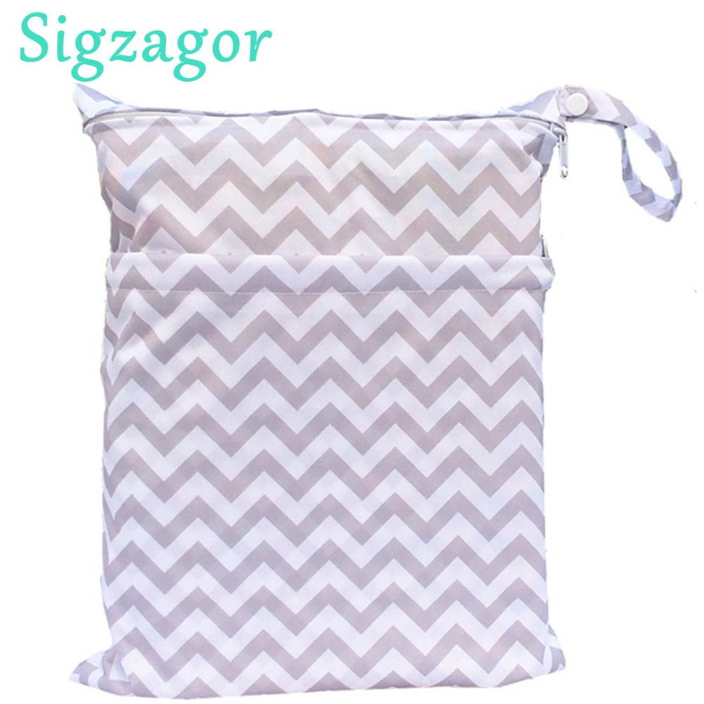 sigzagor wet dry bag with two zippered baby diaper bag nappy bag waterpro. Black Bedroom Furniture Sets. Home Design Ideas