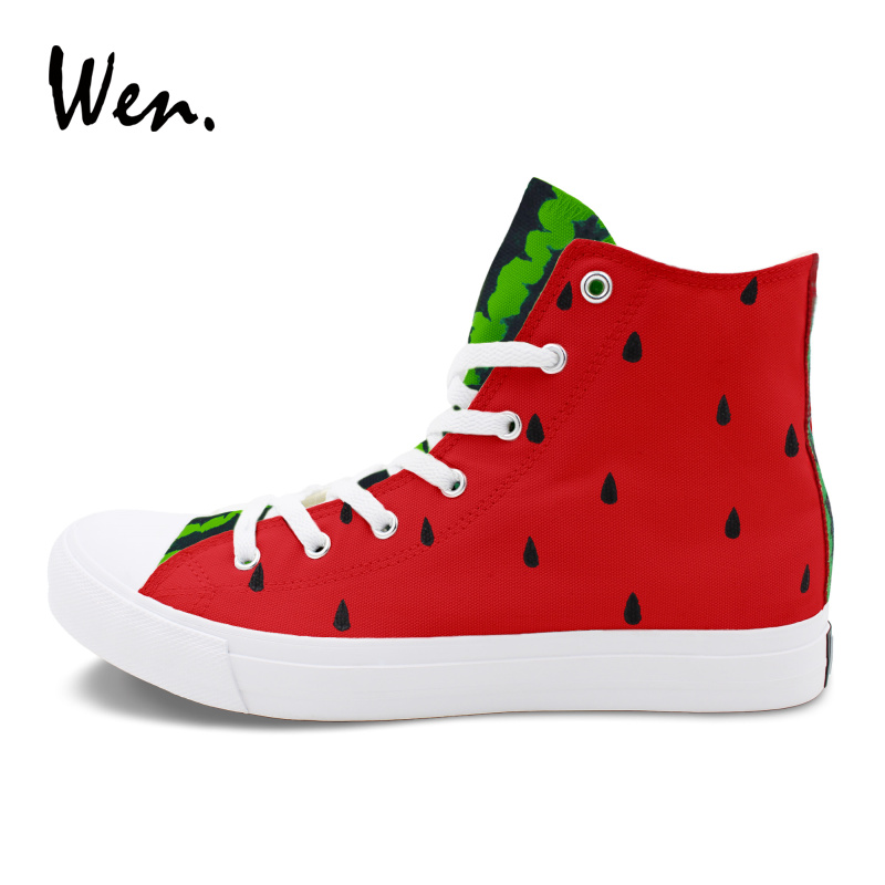 Wen Red Painting Canvas Shoes High Top Fruit Design Watermelon Hand Painted Shoes Men Women Sneakers Athletic Lace-up Flat