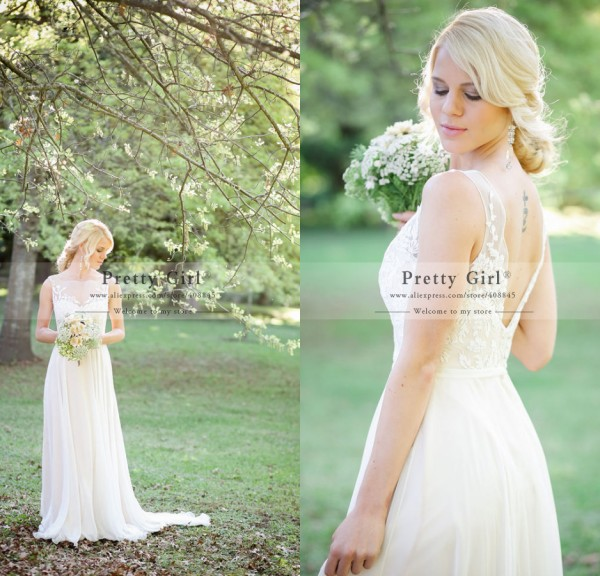 Online Shop 2015 Vestido De Noiva Romantic Lace Boho Bohemian
