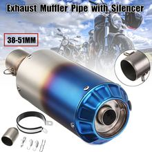 38 51mm Universal Motorcycle Stainless Steel Exhaust Muffler Pipe with Silencer Kit For Dirt Street Bike