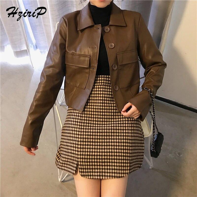 Hzirip 2018 European Stylish PU   Leather   Jacket Fashion High Quality Outwear Slim Coat Turn-down Collars Single Breasted 3 Size