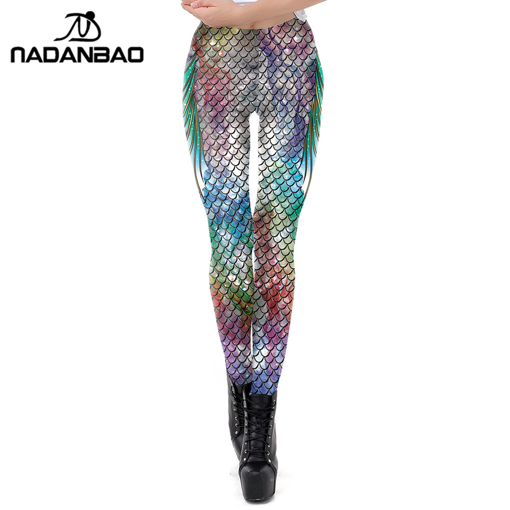 NADANBAO Galaxy Mermaid Leggings Women Fish Scales Printed Workout Legging Colorful Fitness Leggins Plus Size