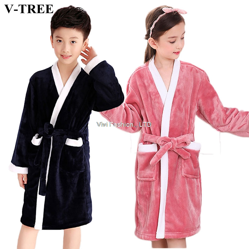 Kids Bathrobe Pajamas Swimming-Clothing Teenager Winter Boys Children Fleece Girls Solid