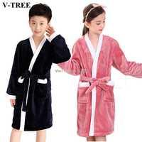Winter Kids Bathrobe Fleece Robes For Boys Solid Girls Pajamas Warm Children Pyjama Teenager Bath Robe Swimming Clothing