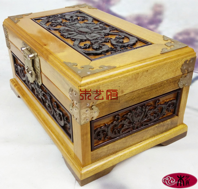 Government gold Phoebe Wooden mirror box red wood carving jewelry box jewelry box wedding housewarming