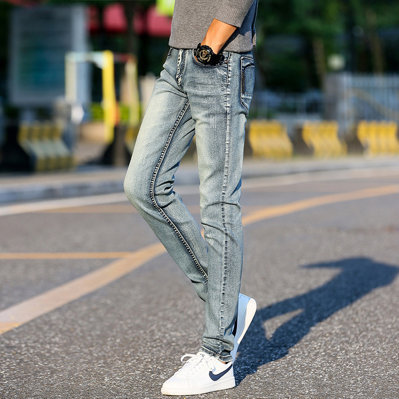 2017 the new mens high quality jeans Lumbar tide restoring ancient ways of cultivate ones morality man stretch feet pants