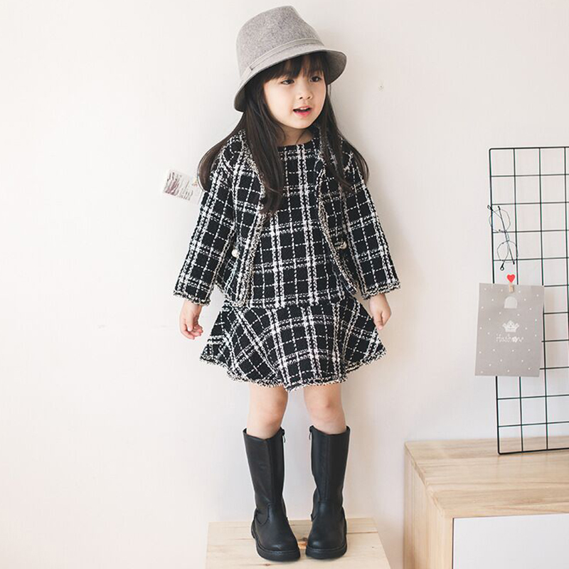 Autumn Winter Girls Clothing Sets Plaid Baby Girls Jackets Coat +Sleeveless Princess Dress 2pcs Children Outfits Sets 2018 1000 gram hot melt glue grains white italian keratin glue grains for keratin nail tip hair extension