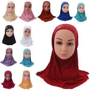Image 2 - Girls Kids Muslim Hijab Islamic Arab Scarf Shawls with Beautiful Rhinestone Fashion Headwear Accessories 3 8 Years old
