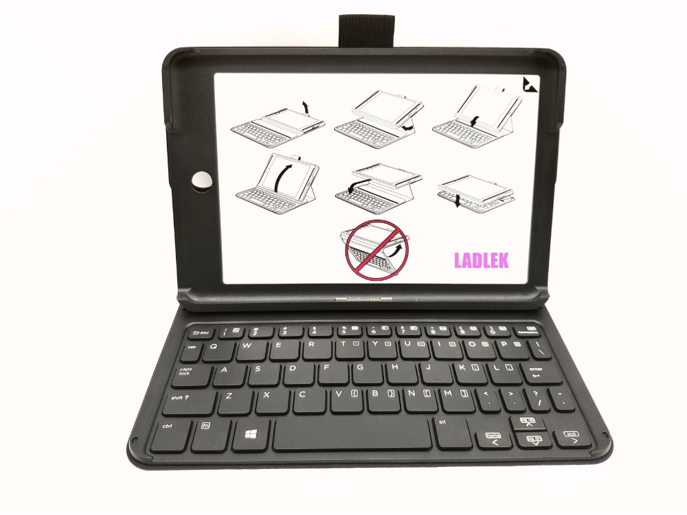 New US Leather case keyboard for HP Pro 8 Travel keyboard P N 813154 001 M1E78AV