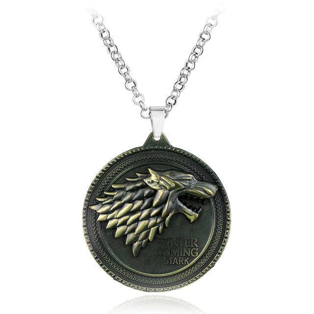 Game of Thrones necklace Stark family lion wolf dragon deer Lannister Targaryen Stark Baratheon Arryn Greyjoy family members 3