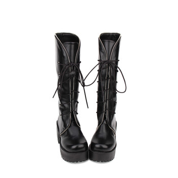 Princess sweet punk shoes Spring Gothic Lolita boots chunky high-heeled boots lace punk Muffin Round head high heel boots pu8430
