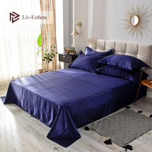 Liv-Esthete 2019 Hot Sale Wholesale Luxury 100% Satin Silk Dark Blue 1PCS Flat Sheet Silky Queen King Bed Sheets For Women Men