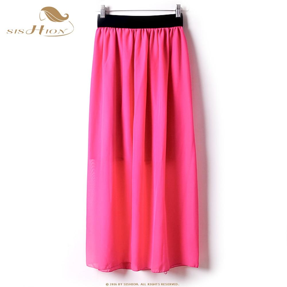 5aa4b304b23e3b Sishion women chiffon long skirt candy color black white red pleated jpg  1000x1000 Red black white