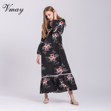 ФОТО vmay women long sleeve vintage bohemian long dresses autumn winter floral print lace patchwork v-neck dress female v1706075