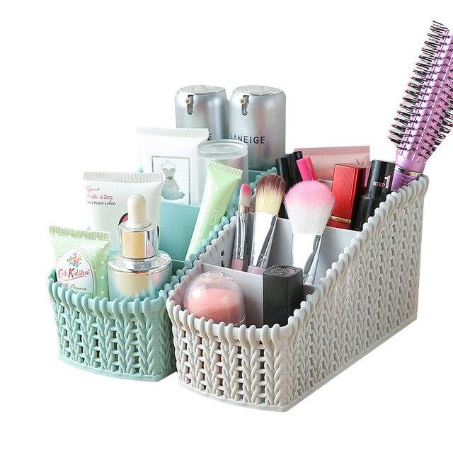 Imitation Rattan Storage Basket Plastic Storage Baskets Bathroom Cosmetic Make up Organizer Jewelry Sundries Storage Basket