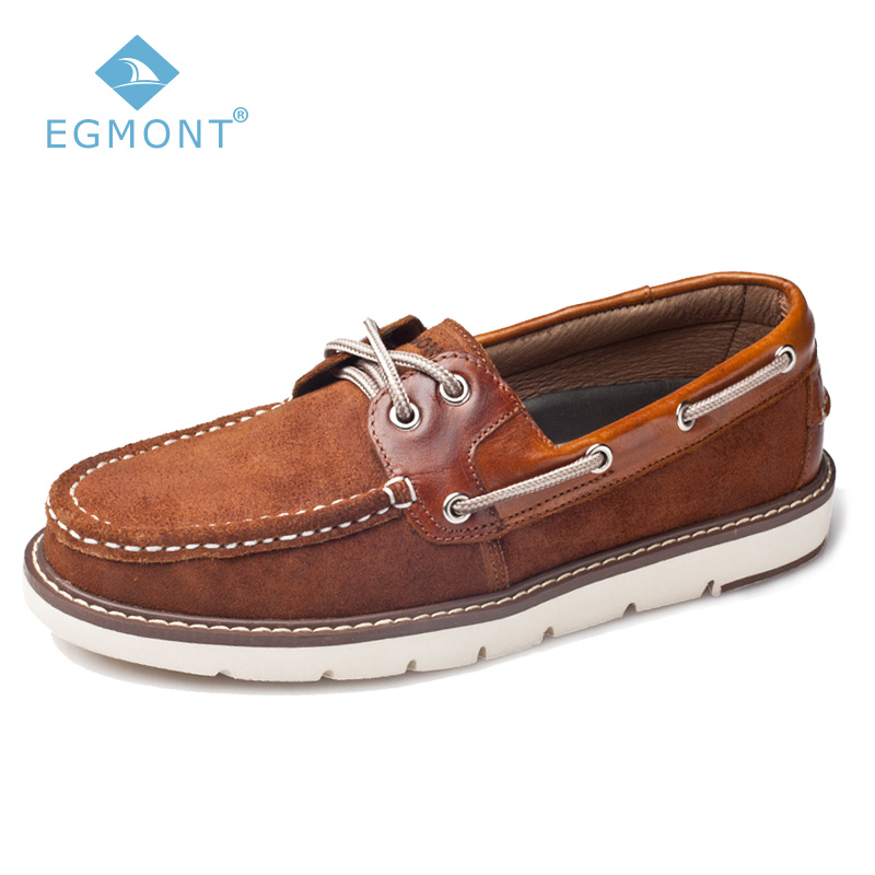 Egmont DK Brown Spring Summer Solid Boat Shoes Logging Mens Casual Shoes Loafers Lace-up Leather Handmade Breathable цены онлайн