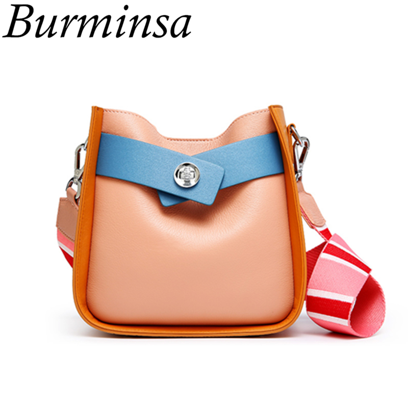 Burminsa Hit Color Small Bucket Genuine Leather Bags Women Shoulder Messenger Bags Girls Crossbody Bags Summer