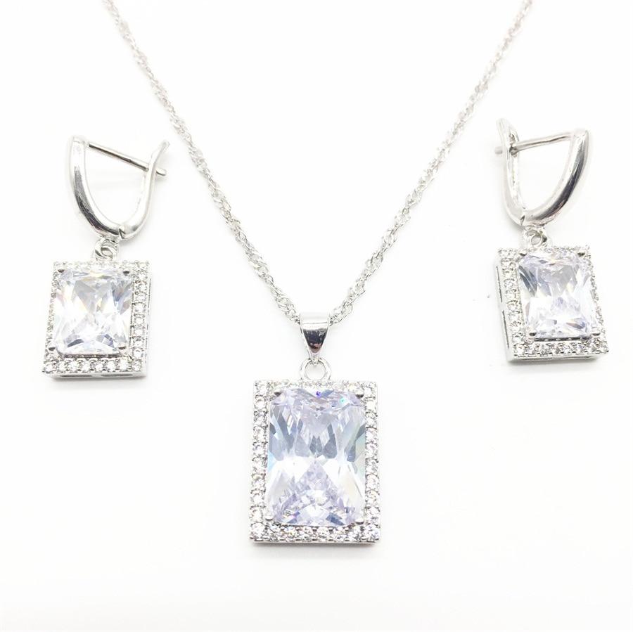 Necklace Earrings Bracelets Pendant Stones-Set Zircon 925-Jewelry-Sets Silver White Women