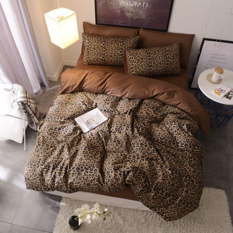 Brown leopard 100%Cotton Twin Bedding Set Queen King size Bed set  Duvet Cover Bed sheet Fitted sheet ropa de cama parure de litBedding  Sets