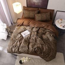 Kahverengi leopar % 100% pamuklu e n e n e n e n e n e n e n e n e n e nevresim takımı kraliçe king size yatak seti yorgan yatak çarşaf kılıfı çarşaf ropa de cama parure de yaktı