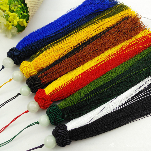 Hand-Woven DIY Chinese Knot Double Color Jade Beads 10Pcs/lot Curtain Cloth Tassel Fringe Car Hangings Home Decor Macrame Gifts