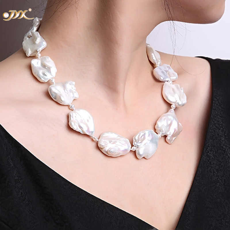 "JYX Fine White  Freshwater Cultured Baroque Pearl Necklace Party Wedding Jewery Gift  AAA 16-20"" 328sale pearl necklace"
